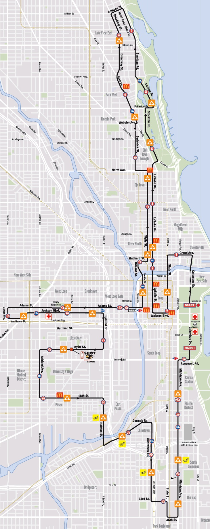 Chicago Marathon 2012 Route Map & Traffic Restrictions on chicago points of interest map, chicago zoning map, chicago road map, chicago highway map, u.s. railroad map, chicago u2 map, chicago county map, chicago toll road system, chicago airspace map, chicago on state map, chicago parking map, chicago location on map, chicago safety map, chicago city map, chicago gas prices, chicago facebook, chicago police map, chicago radar map, chicago driving map,