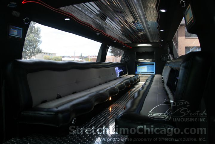White Ford Excursion SUV Limousine inside
