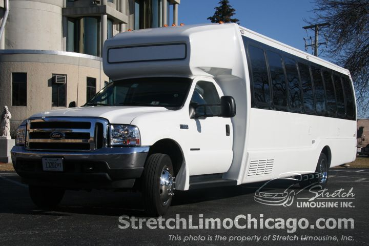 white chicago limousine bus outside