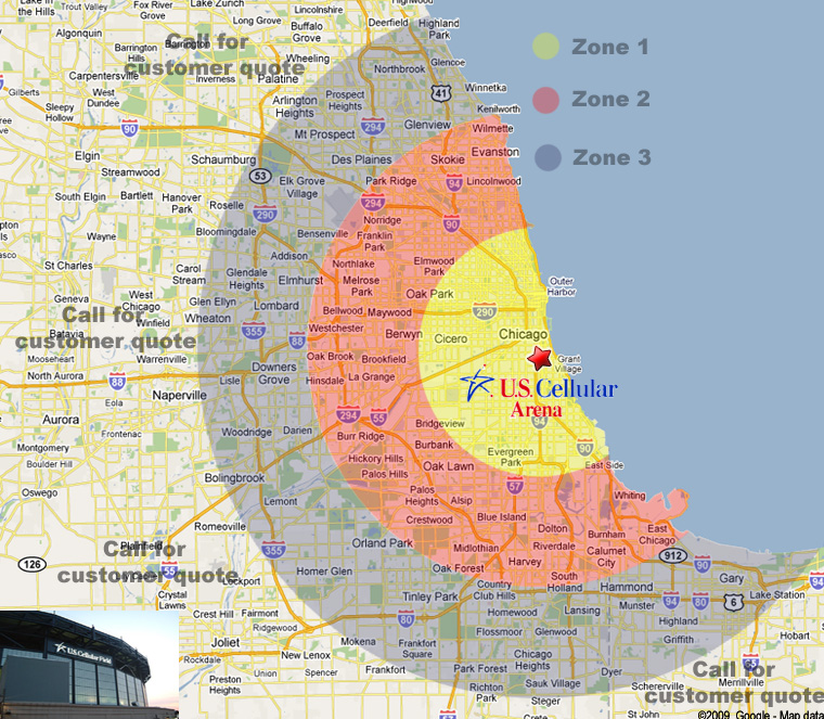 US Cellular Limo Service US Cellular Limo Rates - Us cellular field map