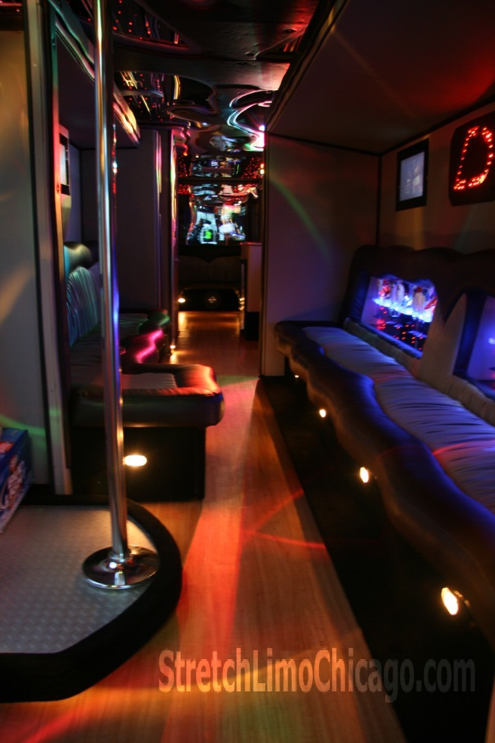 Dancing pole / stipper pole in our Chicago limo bus. chicago party limousine