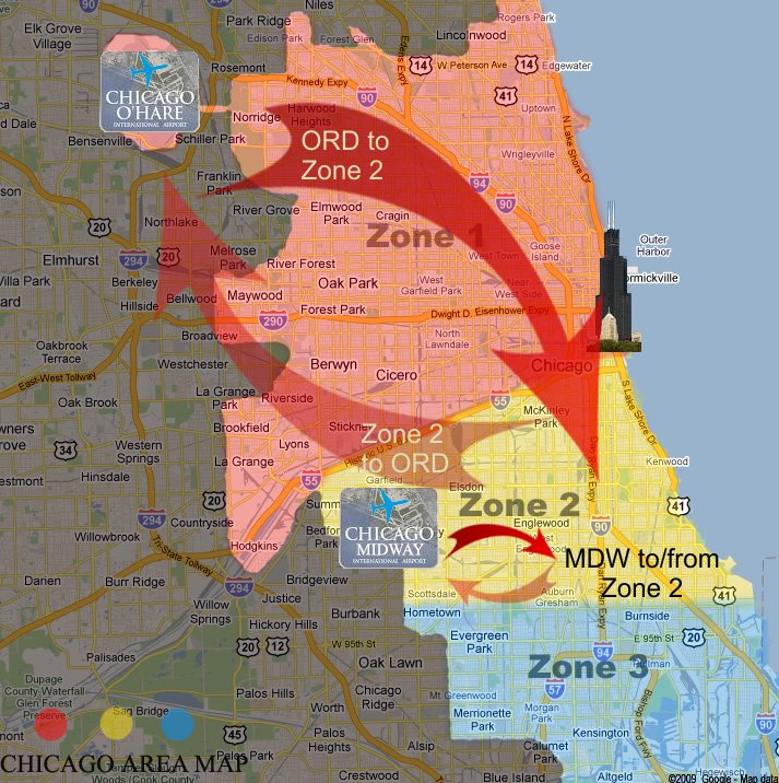 Chicago, Illinois Zone 2 limo rates