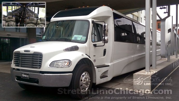 chicago wedding shuttle grech bus