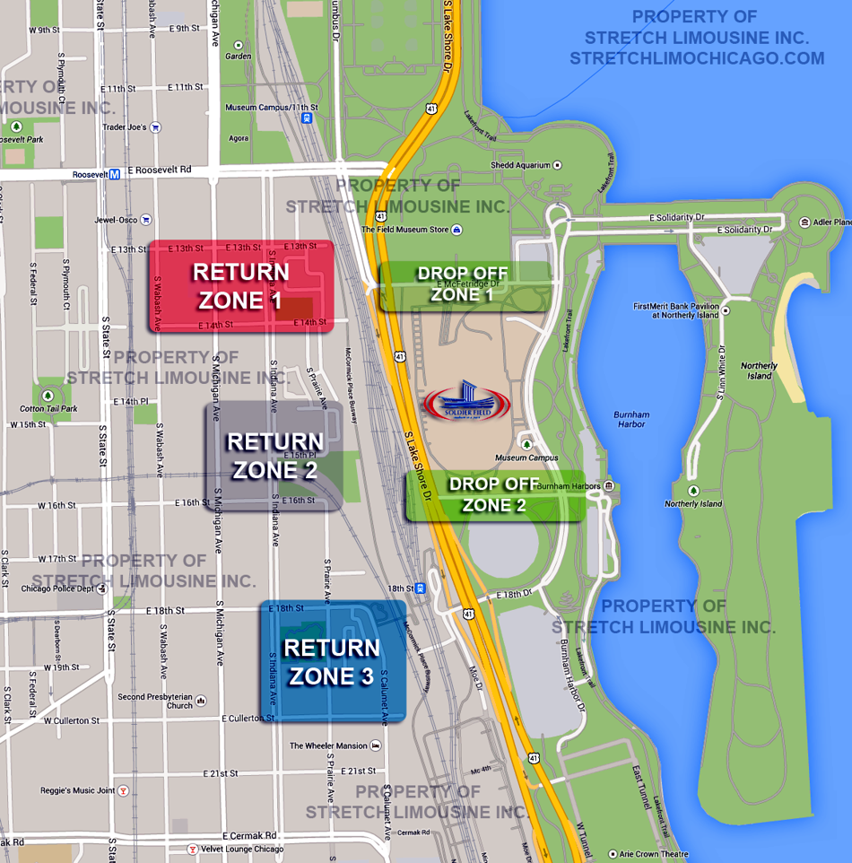 solider field pickup drop off zones for limos