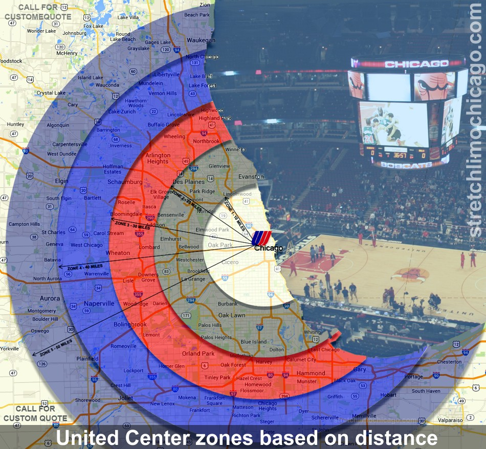 United Center distance rate zones